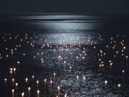candles in ocean